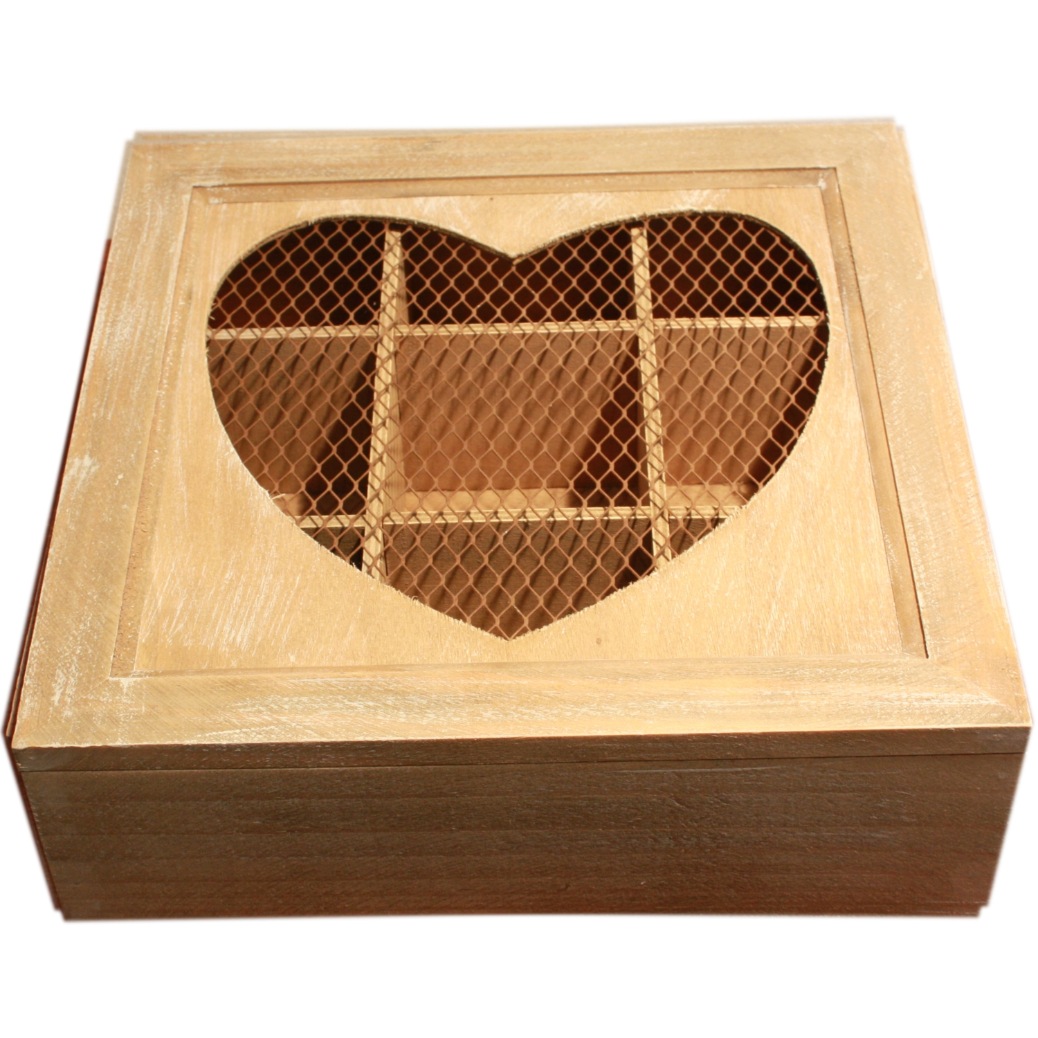 Rustic Vintage Heart Design Tea Box in Natural Finish