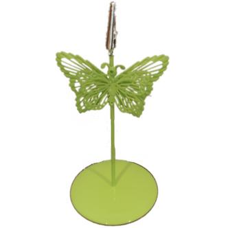 Bright Green Butterfly Crocodile Photo Memo Place Setting Holder