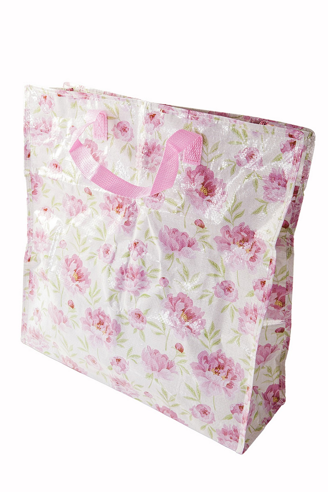 Pink English Rose Floral Design Shopping Bag