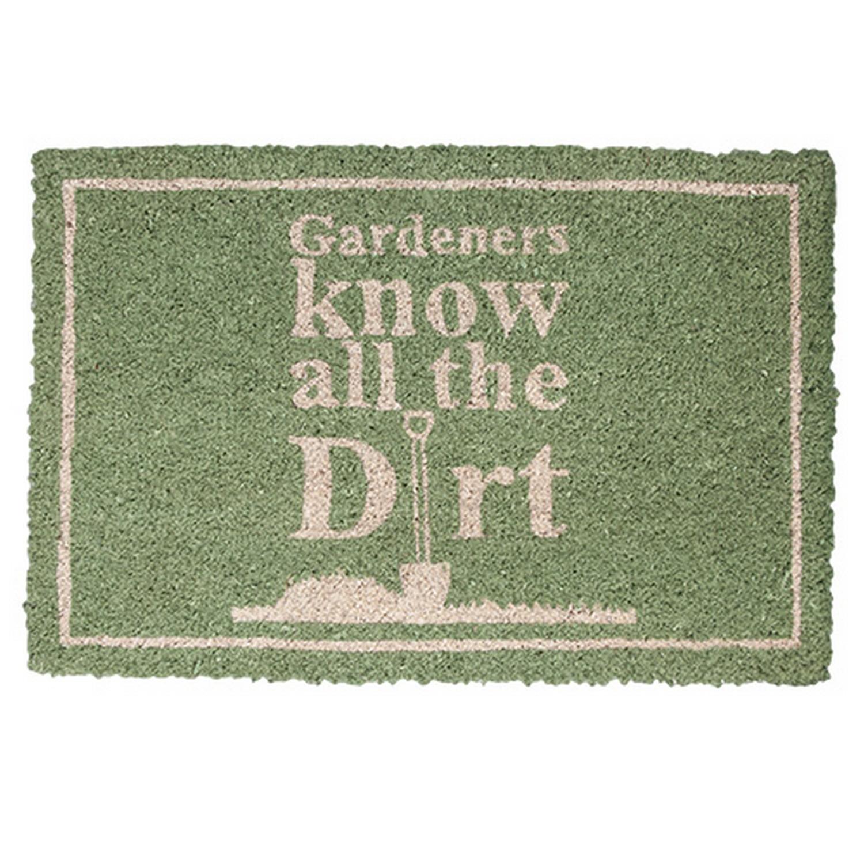 Gardeners Know all the Dirt on Green Background Garden Doormat