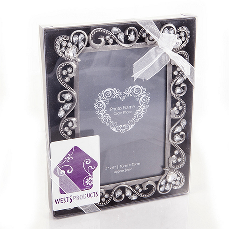 Quality Vintage Style Ornate Diamante Silver Photo Frame