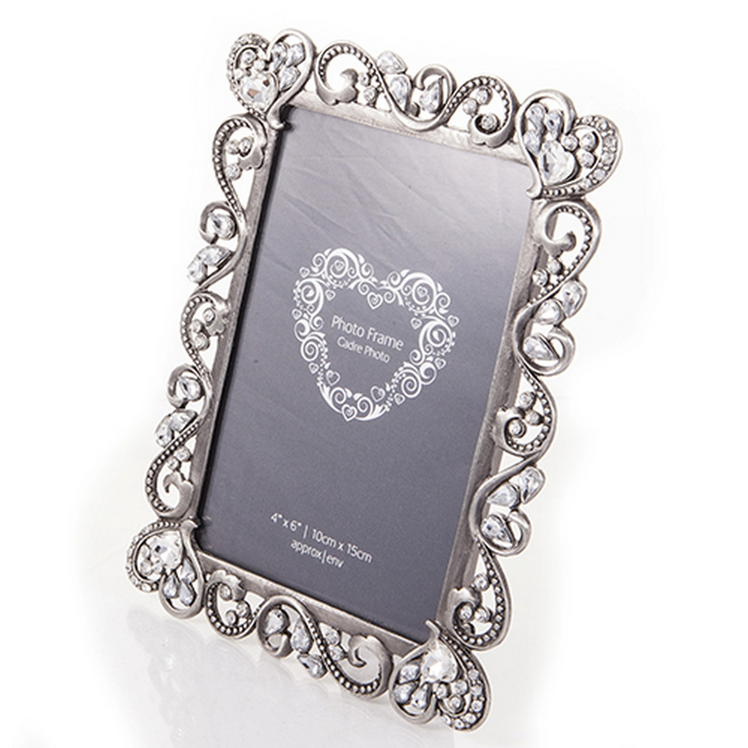 Quality Vintage Style Ornate Diamante Silver Photo Frame