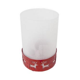 Red Christmas Festive Knit Design Hurricane Lantern
