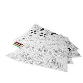 Childrens Colouring in Placemats & Coloured Pencils x6