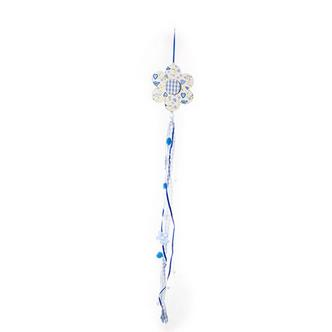 Blue Flower Hanging Wooden Garland Hanging Ribbons