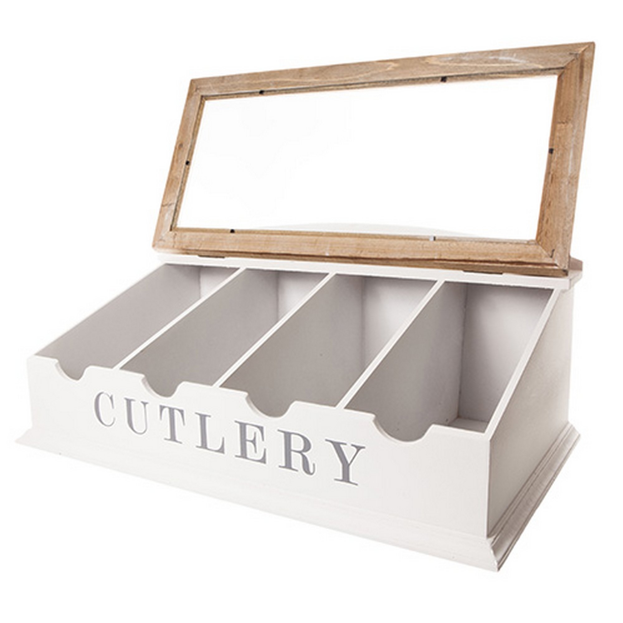Large Table Top White & Brown Wooden Cutlery Box | blendboutique
