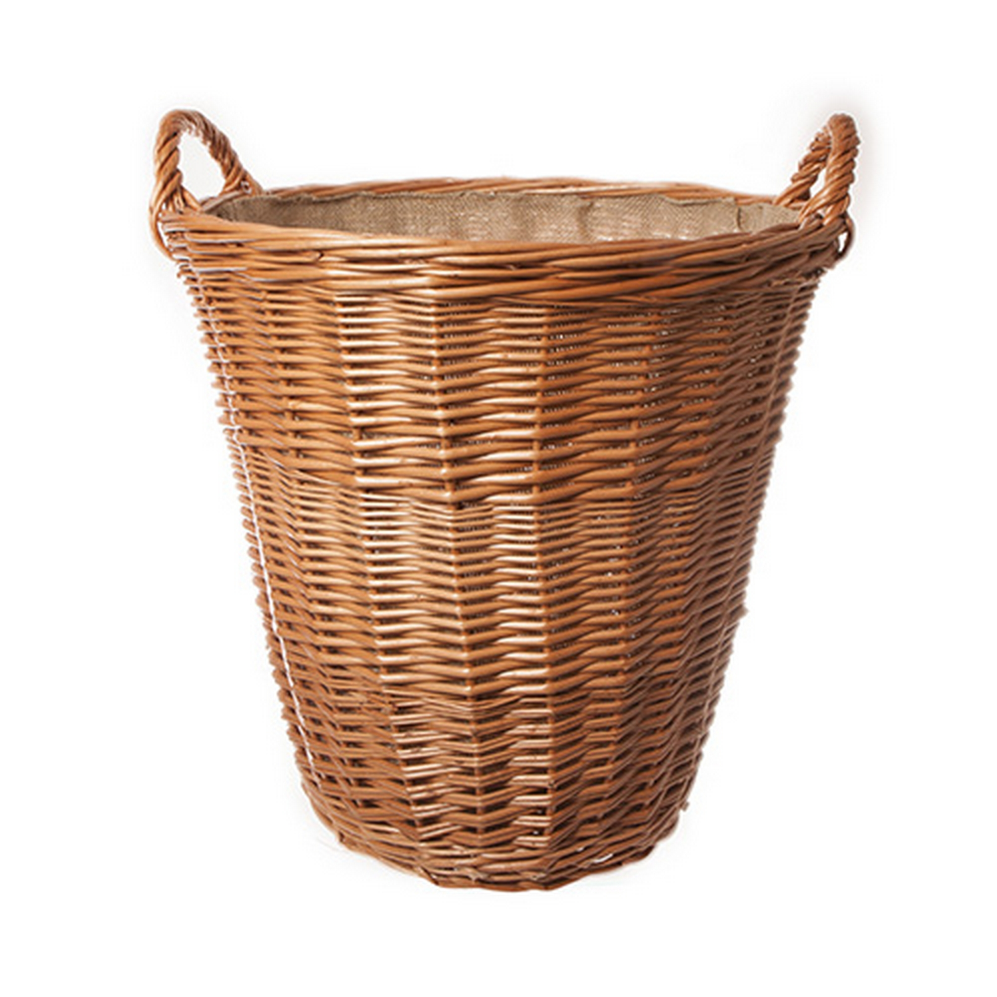 Round Wicker Baskets With Handles : Large quality round lined wicker log basket with handles