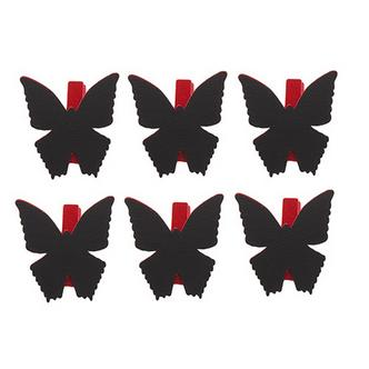 6x Red Butterfly Shaped Blackboard Place Settings / Photo Line