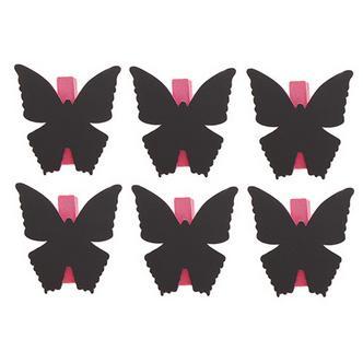 6x Pink Butterfly Shaped Blackboard Place Settings / Photo Line