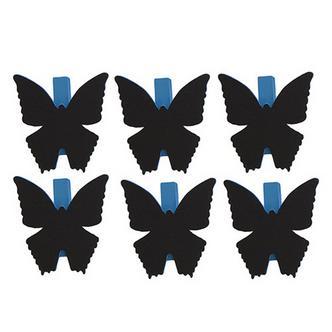 6x Blue Butterfly Shaped Blackboard Place Settings / Photo Line