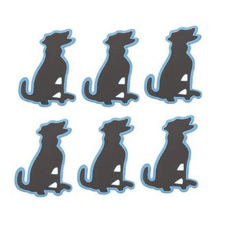6x Blue Dog Shaped Blackboard Place Settings / Photo Line