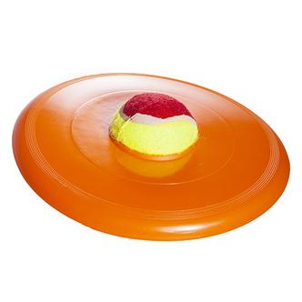 Pet Dog Throw Flying Disc Toy with Removable Tennis Ball in Middle