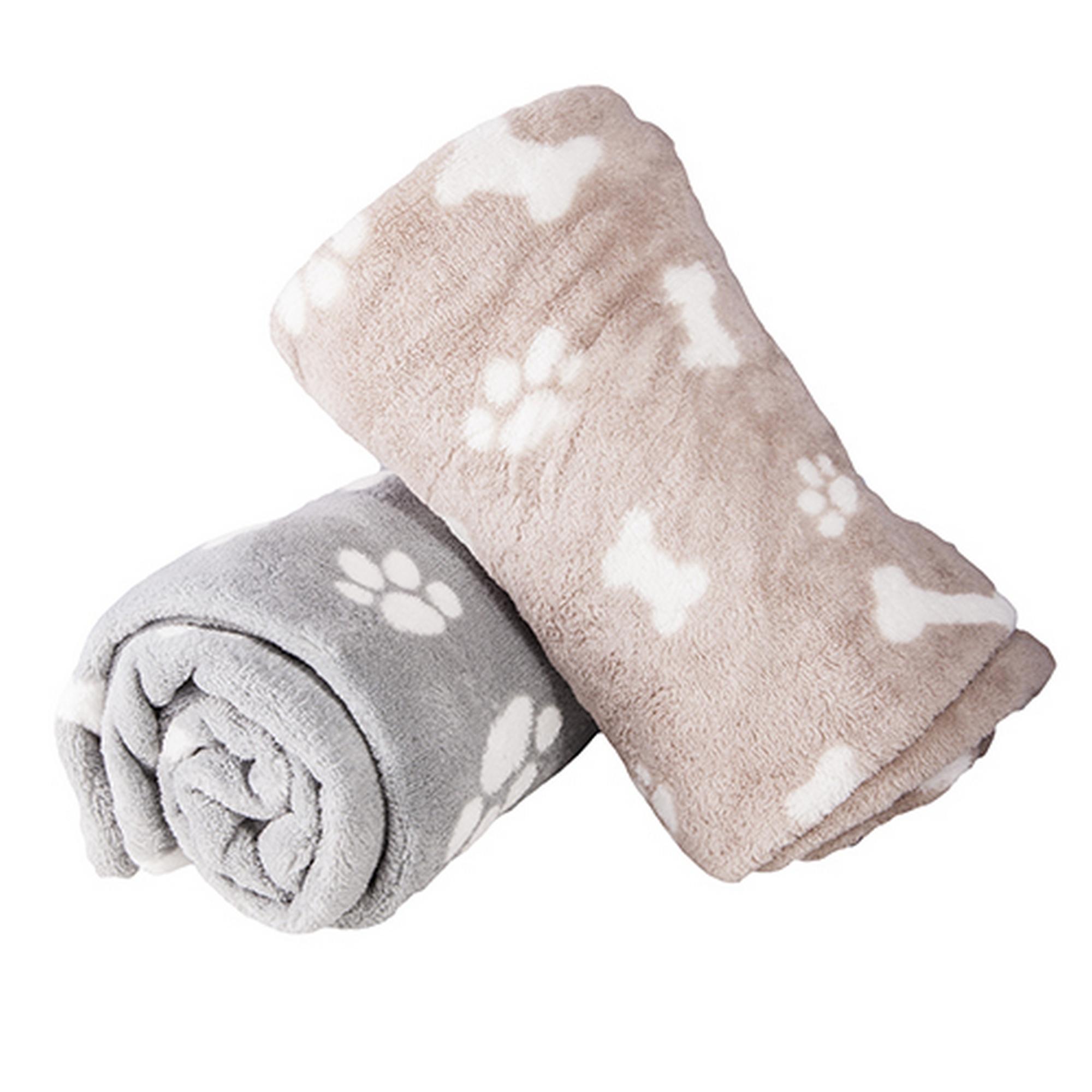 1x Soft Micro Fibre Paw Amp Bone Design Small Dog Blanket