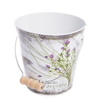 Metal French Botanical Le Jardin Kitchen Pail / Planter [Design1]
