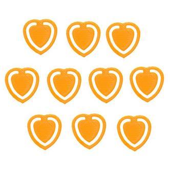 10x Orange Fun Kitsch Paper Clips Assorted Colours Heart Design