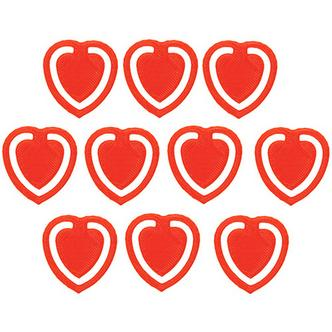 10x Red Fun Kitsch Paper Clips Assorted Colours Heart Design