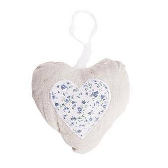 Blue Floral Shabby French Rustic Chic Padded Heart
