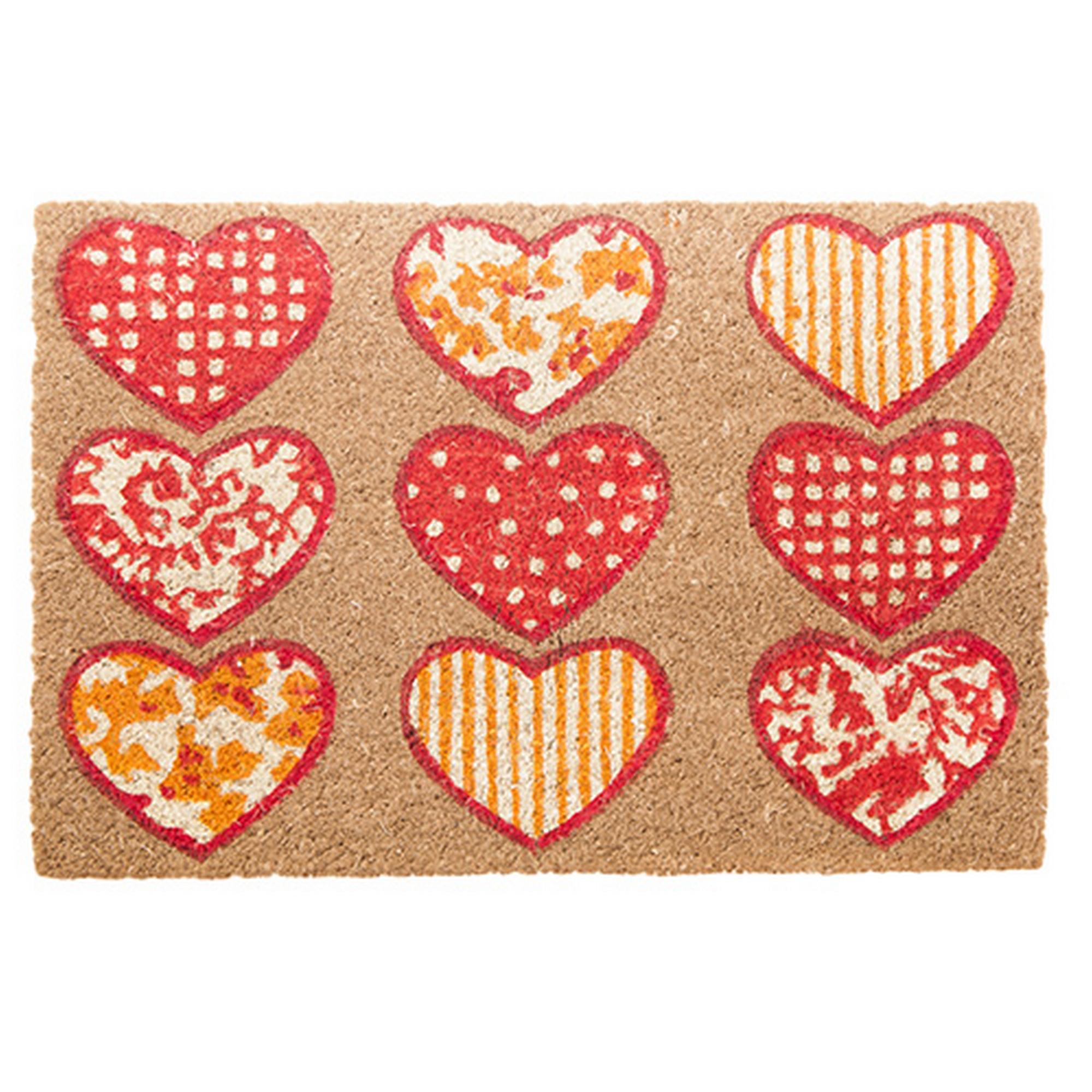 Heart Design Doormat in Red