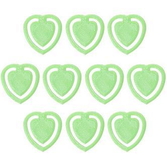 10x Light Green Fun Kitsch Paper Clips Assorted Colours Heart Design