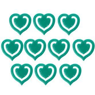 10x Dark Green Fun Kitsch Paper Clips Assorted Colours Heart Design