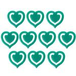 10x Dark Green Fun Kitsch Paper Clips Assorted Colours Heart Design