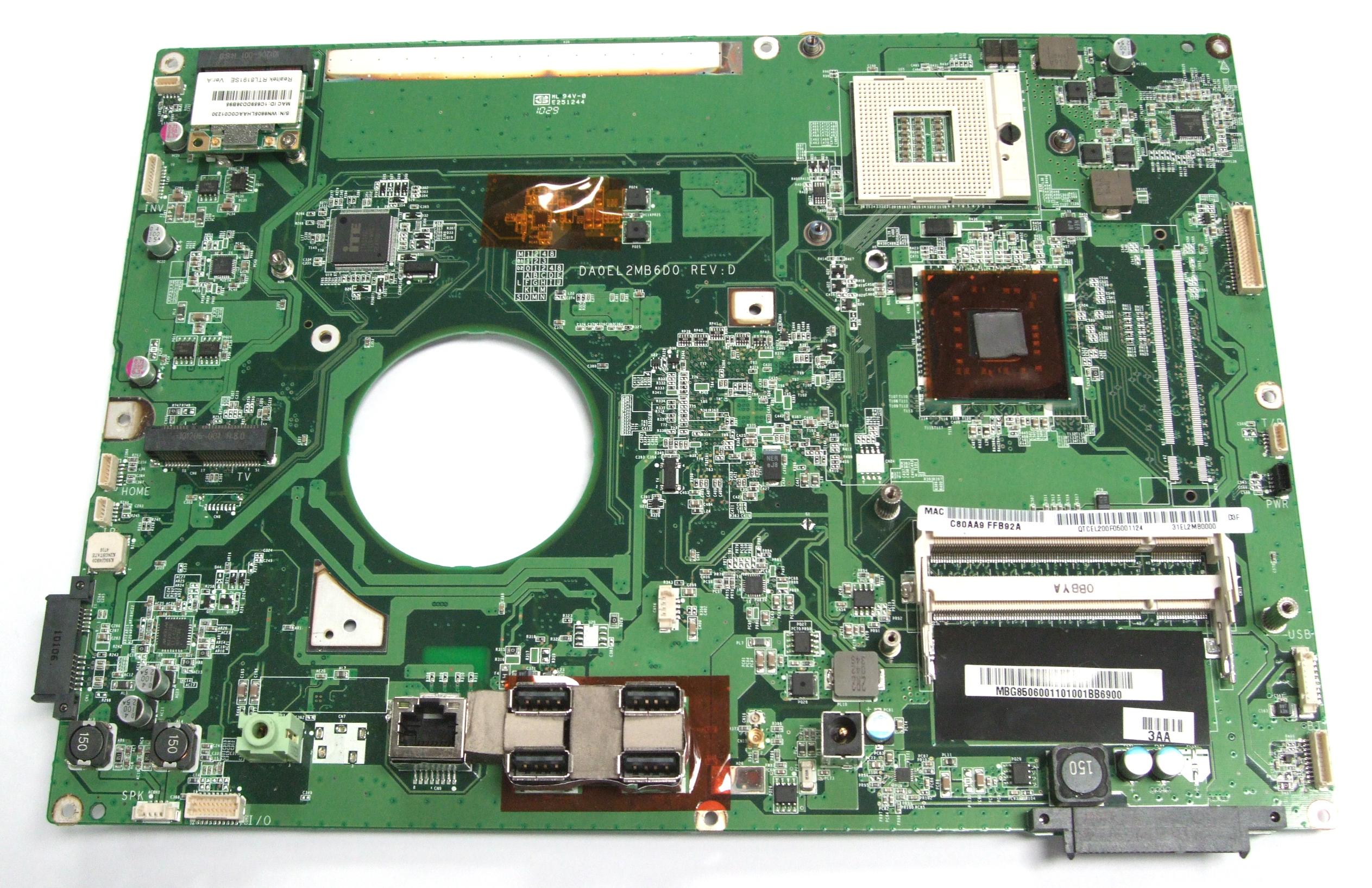 MB.G8506.001 Acer All In One PC Motherboard DA0EL2MB6D0 Rev.D