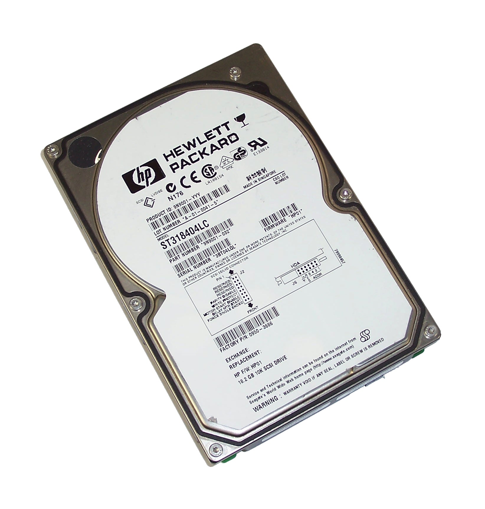 "HP 0950-3686 18.2GB 10K 80-Pin SCSI 3.5"" Hard Disk Drive- Seagate ST318404LC"