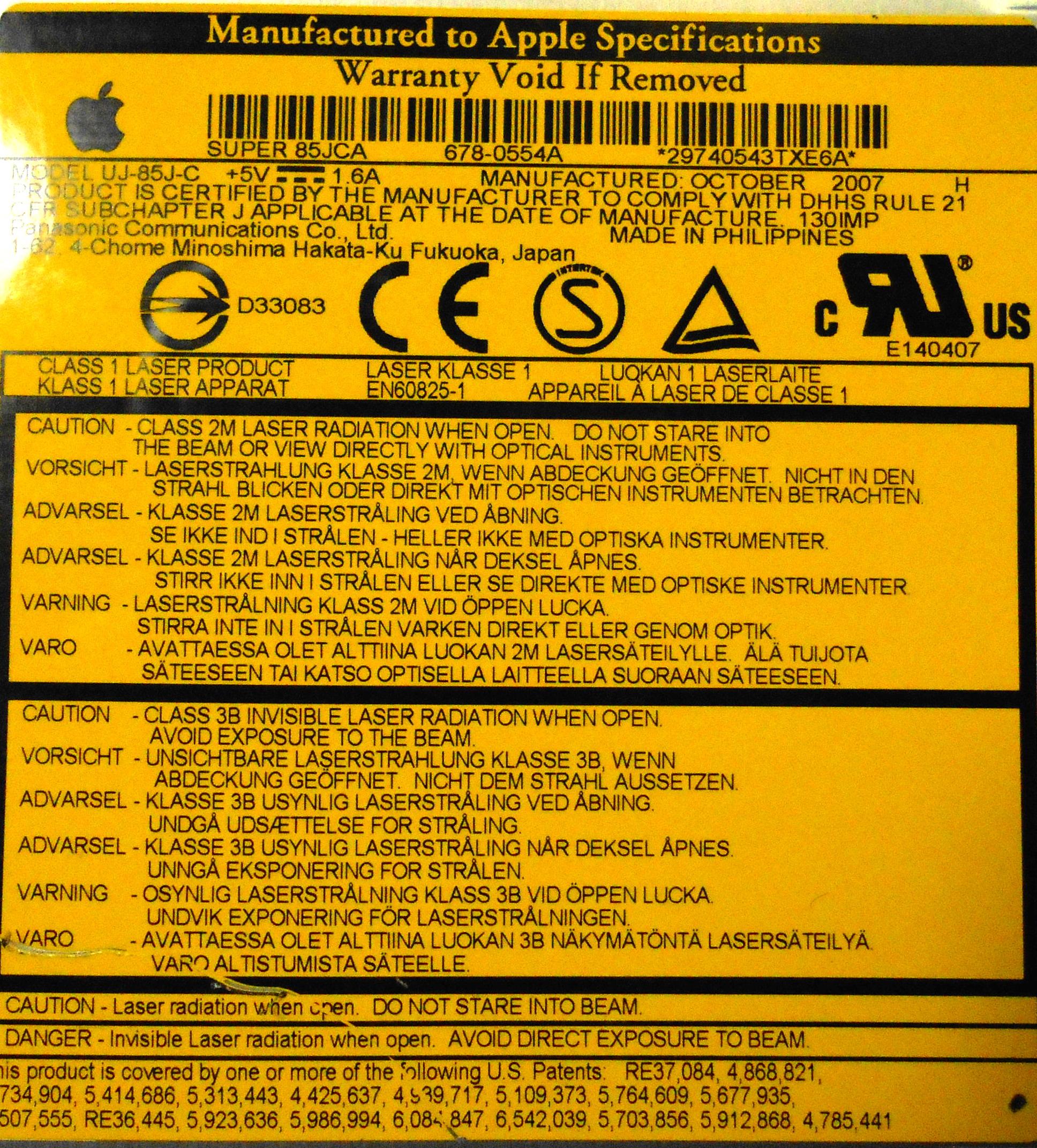 """678-0554A Apple Intel 20"""" iMac A1224 Super 85JCA Optical Drive ODD"""