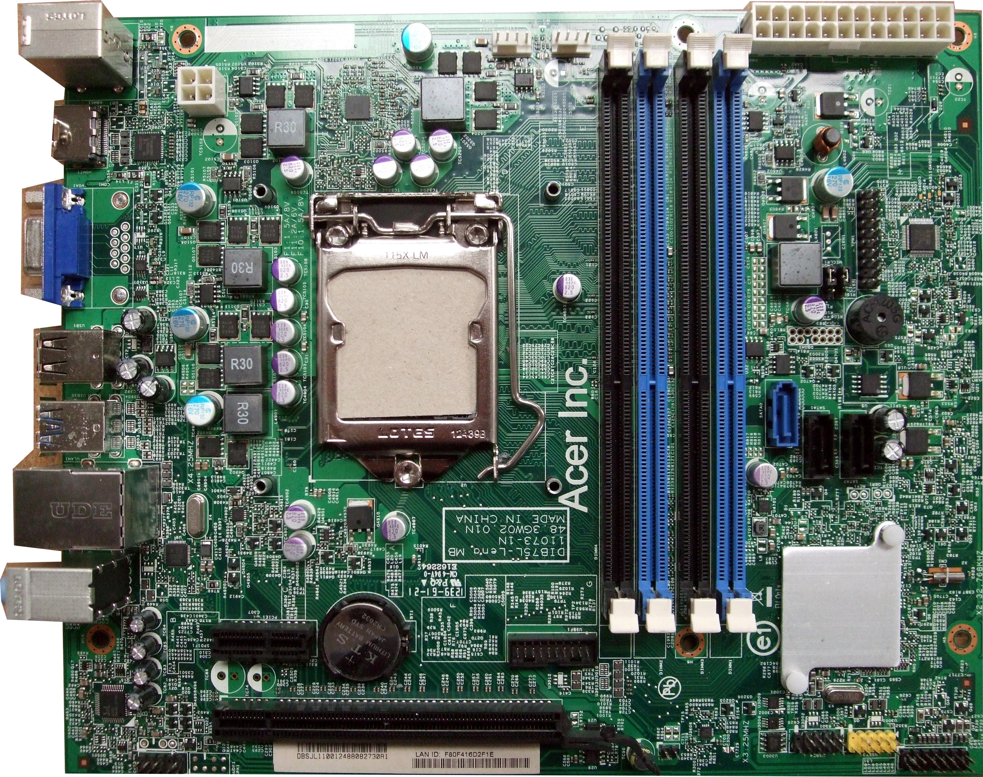 Acer DB.SJL11.001 DIB75L-Lena 11073-1N 48.3GW01.01N Socket 1155 Motherboard