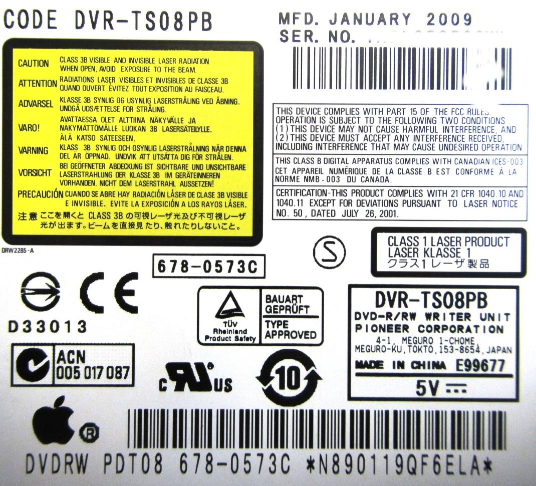"678-0573C Apple iMac 24"" A1225 DVDRW ODD Optical Drive - Pioneer DVR-TS08PB"