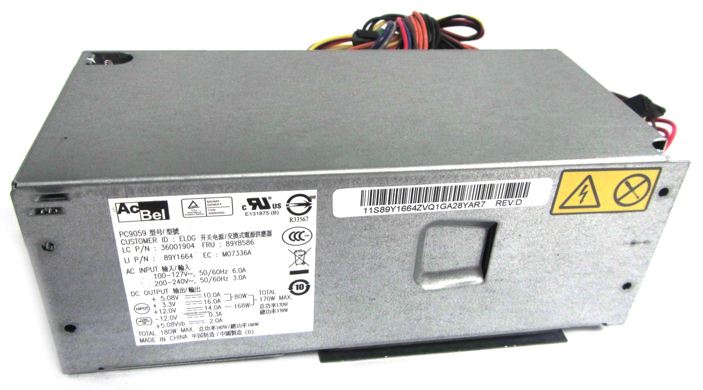 89Y8586 Lenovo 24-Pin 180W PSU Power Supply Unit - AcBel PC9059 - 89Y1664
