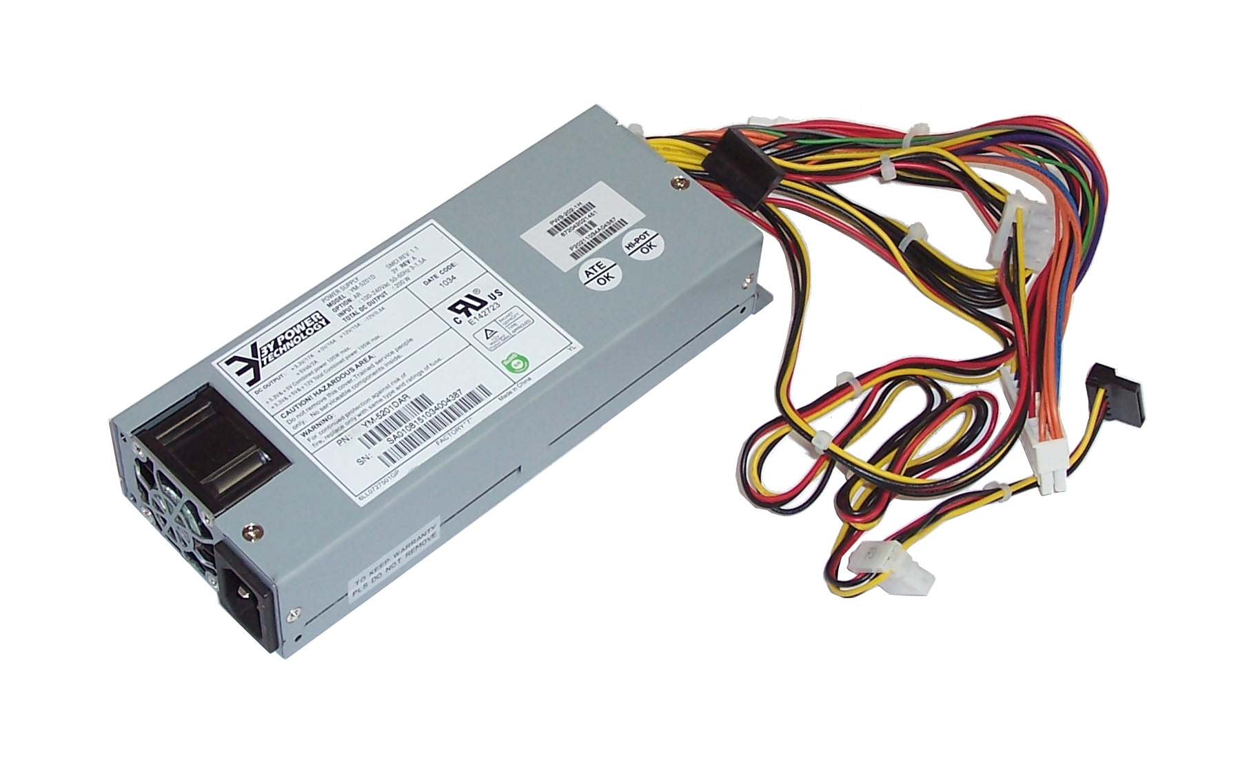 SuperMicro PWS-202-1H Model: YM-5201D 200W Power Supply- 3Y Power P/N:YM-5201DAR