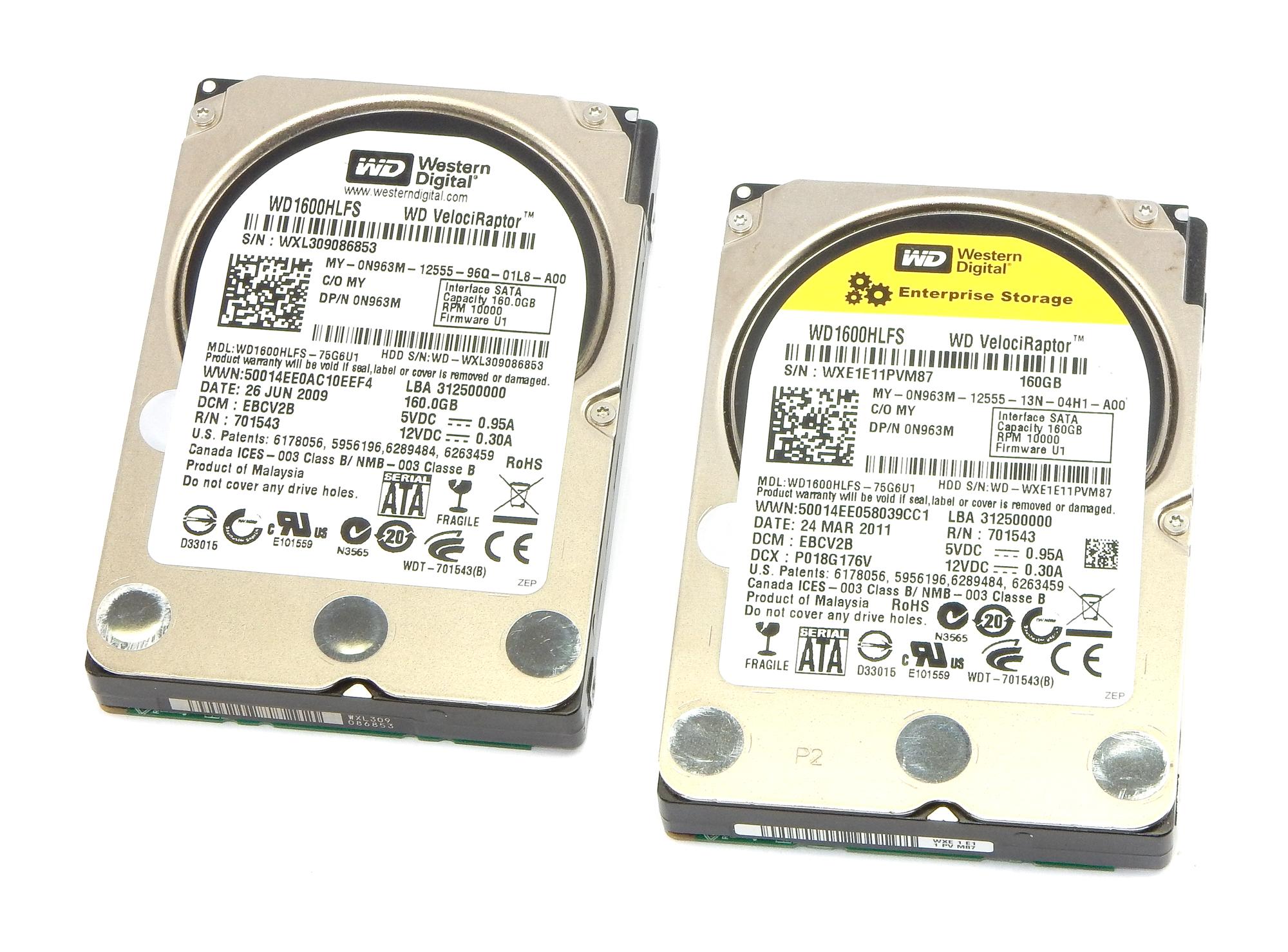 """2x Dell N963M 160GB 10K RPM SATA 2.5"""" HDD WD WD1600HLFS"""