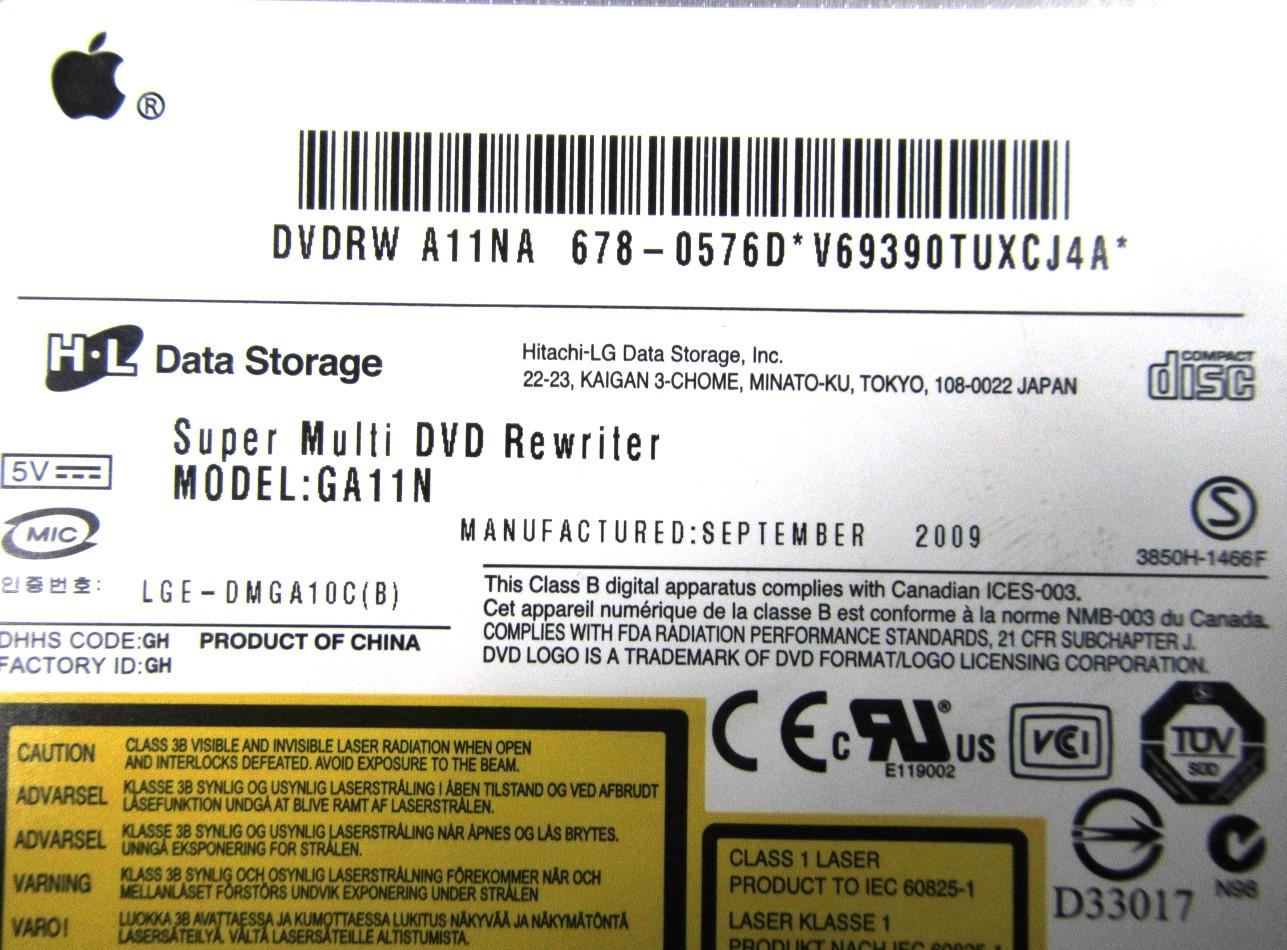 678-0576D Apple iMac Super Multi DVD Rewriter ODD - Hitachi-LG Model:GA11N