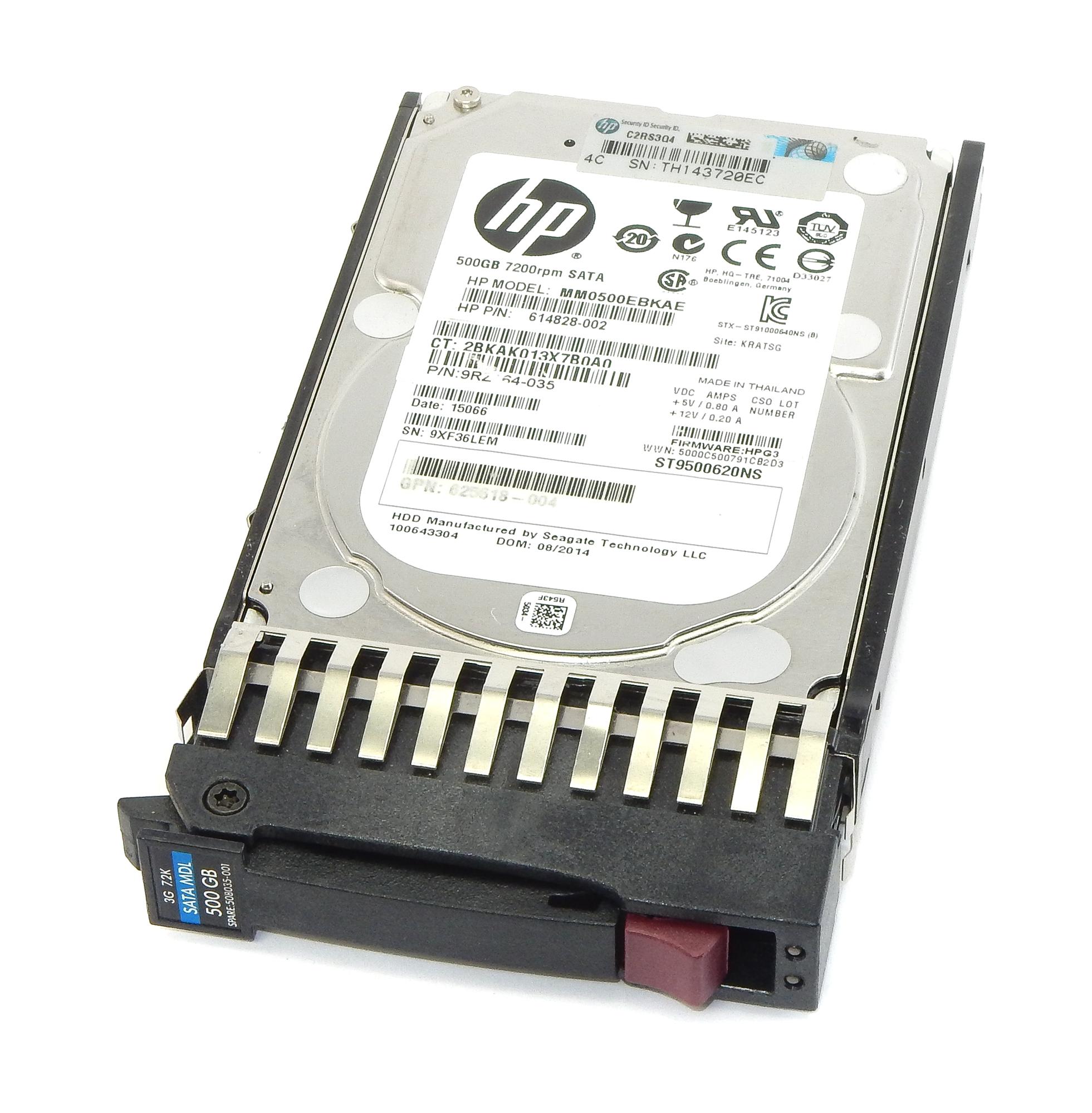 """HP 614828-002 MM0500EBKAE 500GB 7.2K RPM SATA 2.5"""" Hard Disk Drive"""