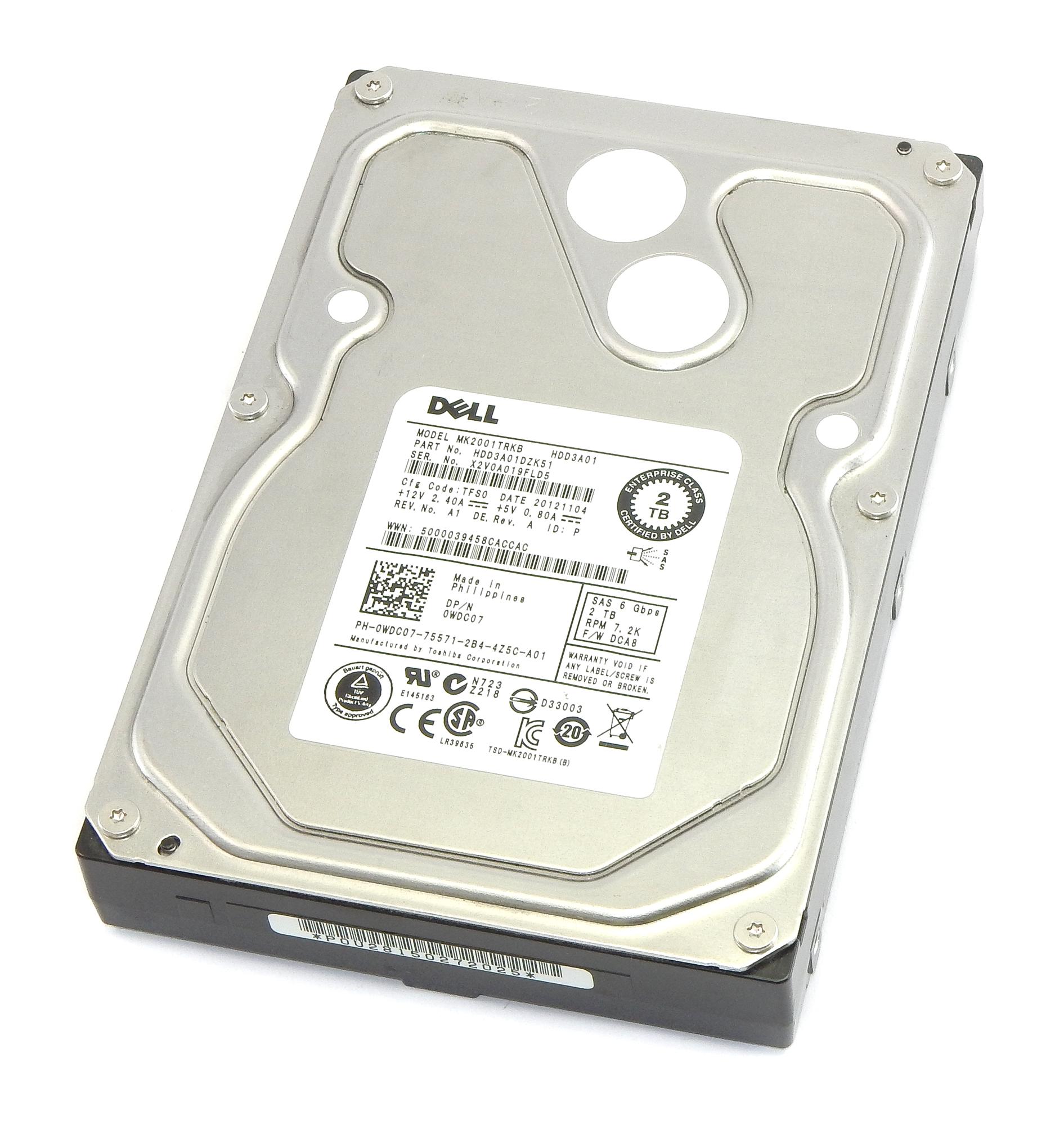 "Dell WDC07 2TB 7.2K RPM 6Gbp/s SAS 3.5"" HDD Toshiba MK2001TRKB"