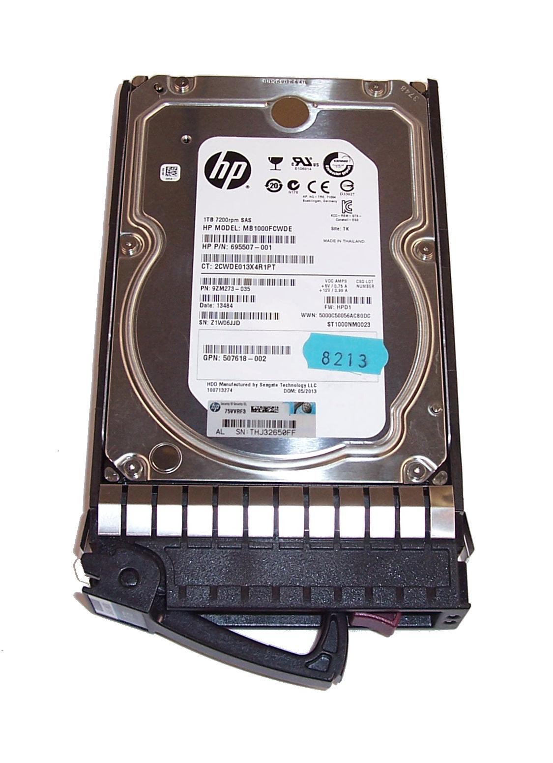 """HP 508011-001 HDD+Caddy: MB1000FCWDE 1TB 7200 RPM 6GB SAS 3.5""""  695507-001"""