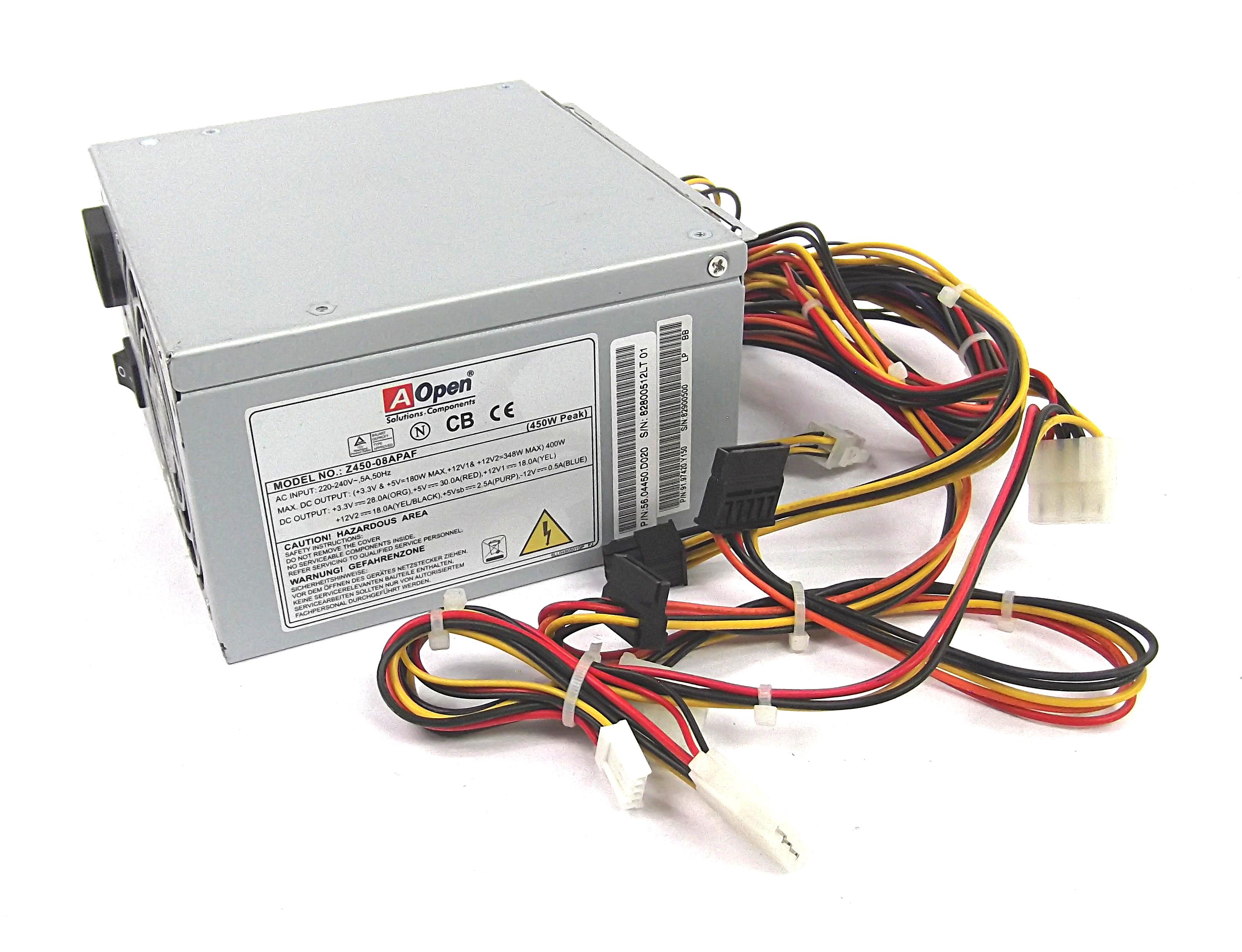 AOpen Z450-08APAF 450W 20/24pin ATX Power Supply - P/N 56.04450.D020 ...