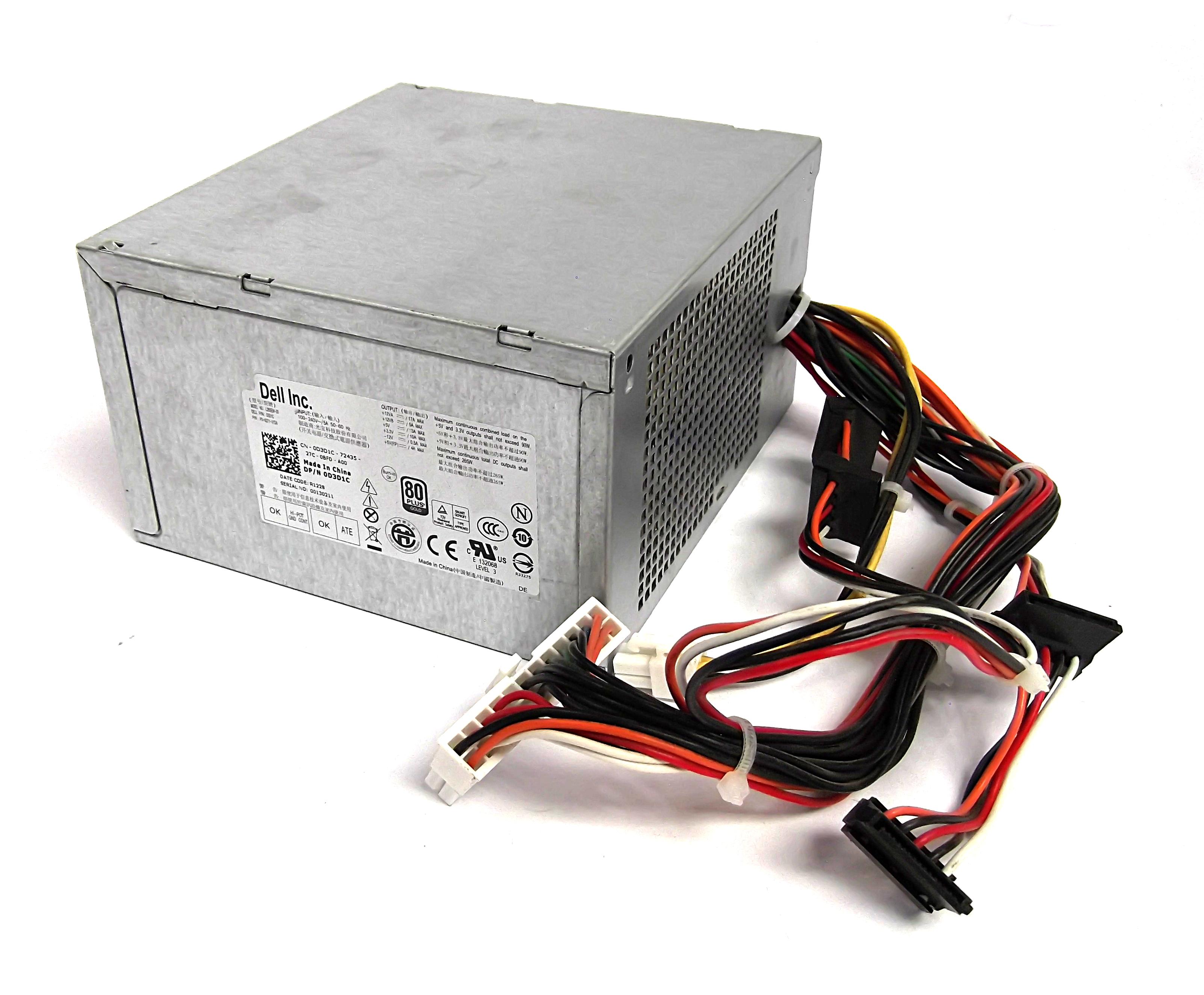 Dell D3D1C Optiplex 990 3010 MT 265W Power Supply - L265EM-00