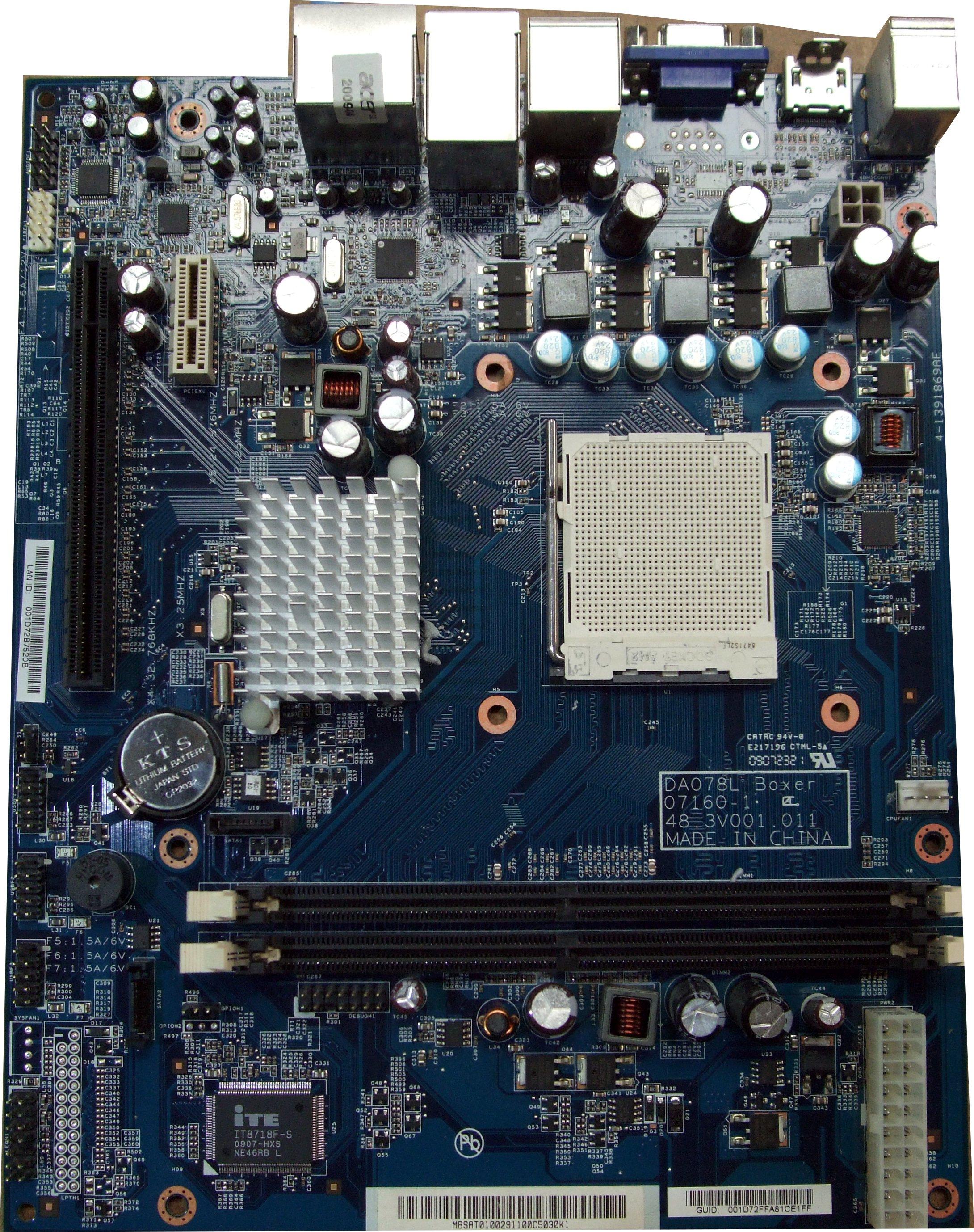DA078L 07160-1 Boxer Acer AMD Socket AM2+ System Motherboard - MB.SAT01.002