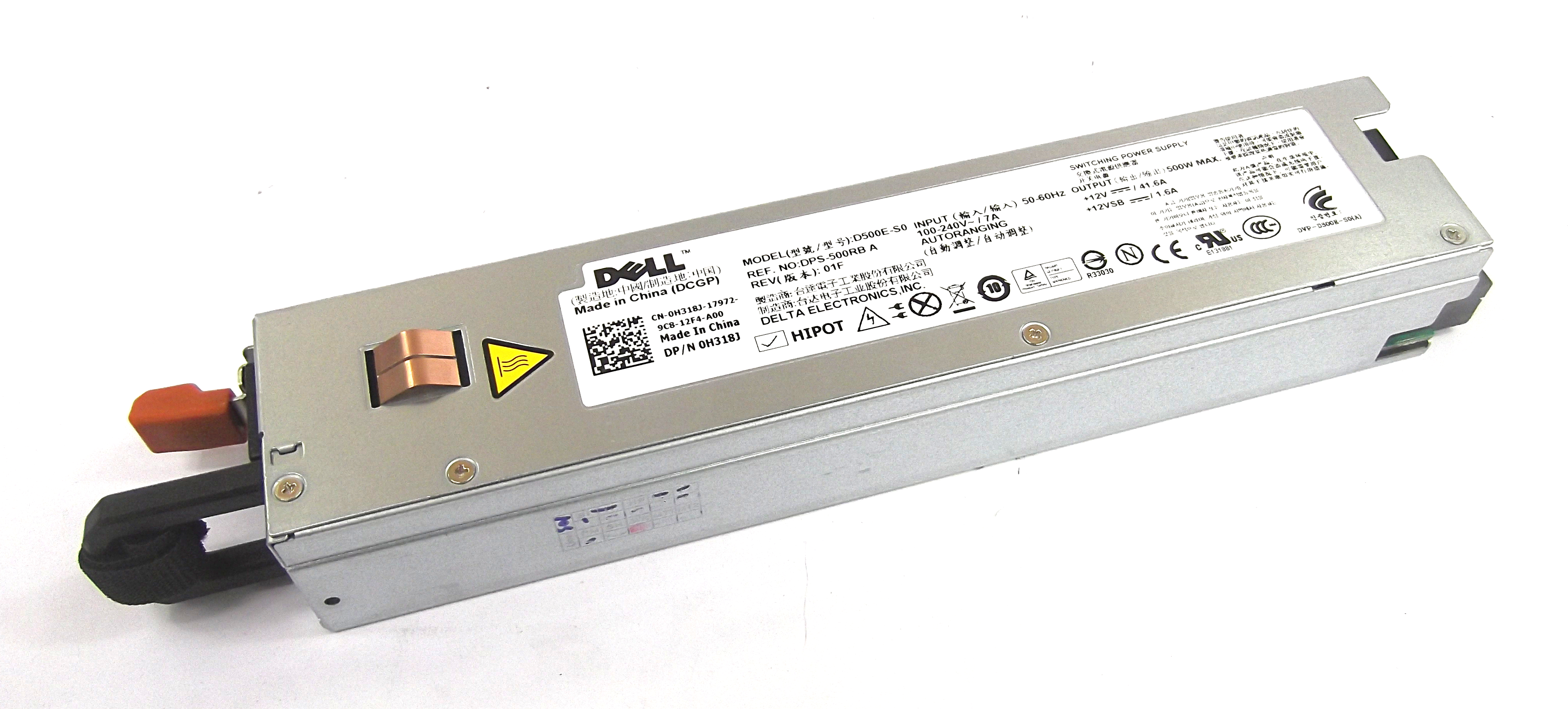 Dell H318J PowerEdge R410 Power Supply - Delta Electronics D500E-S0