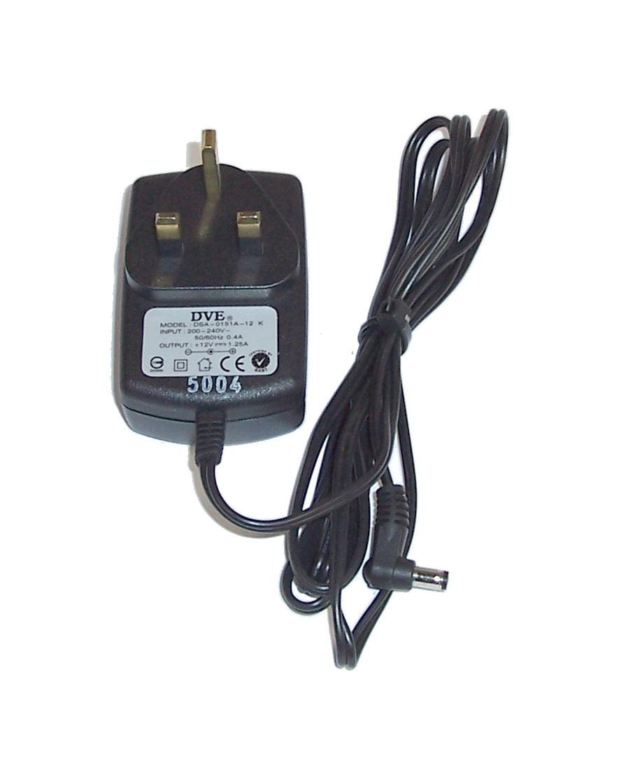 DVE DSA-0151A-12 12V 1.25A UK Plug Power Supply - 5.5mm Barrel Connector