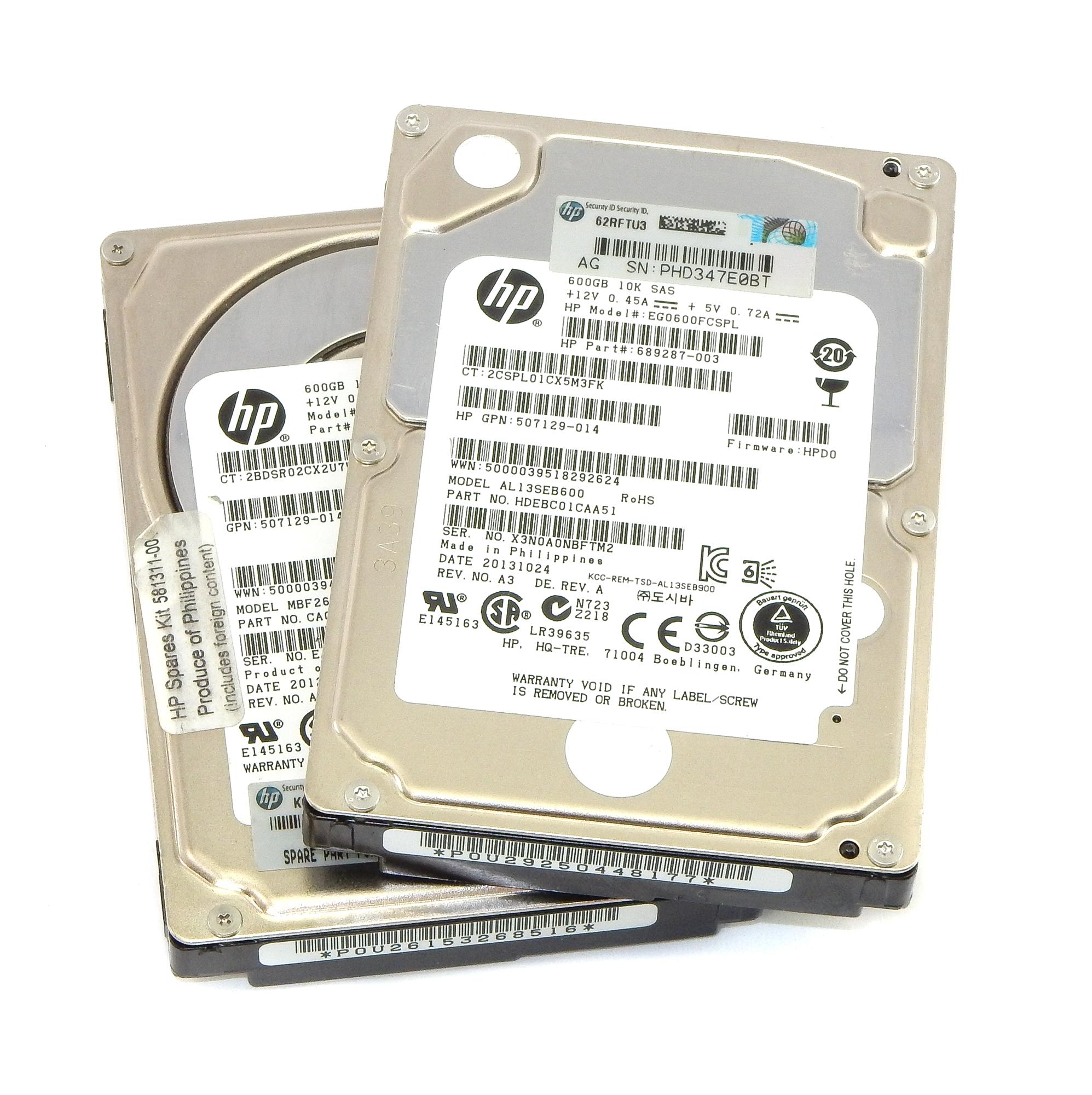 "2x HP 507129-014 EG0600FCSPL 600GB 10K SAS 2.5"" Hard Disk Drive"