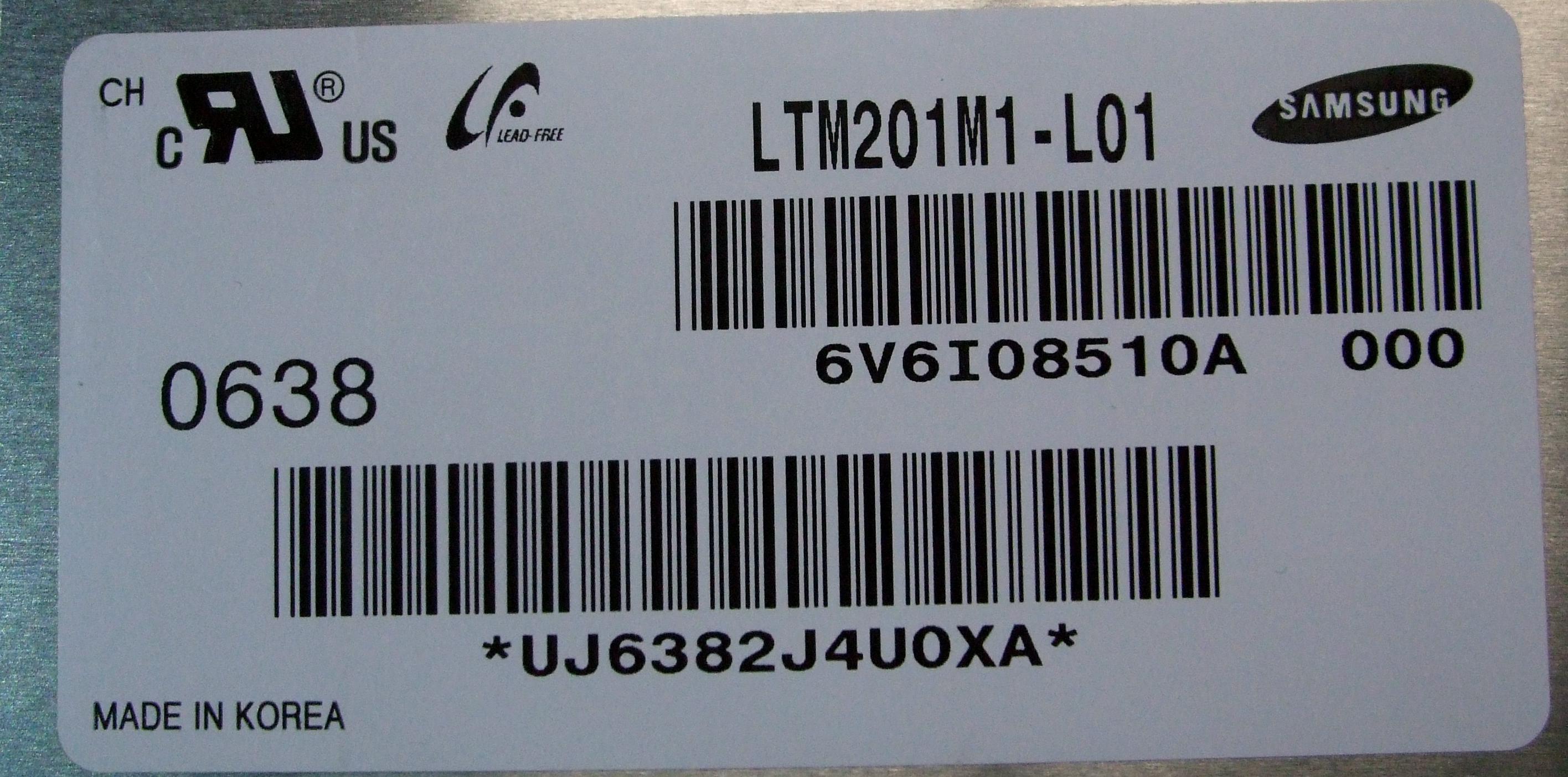 "Apple 20.1"" Screen /f 20"" iMac A1174 EMC 2105 (Late 2006) - Samsung LTM201M1-L01"