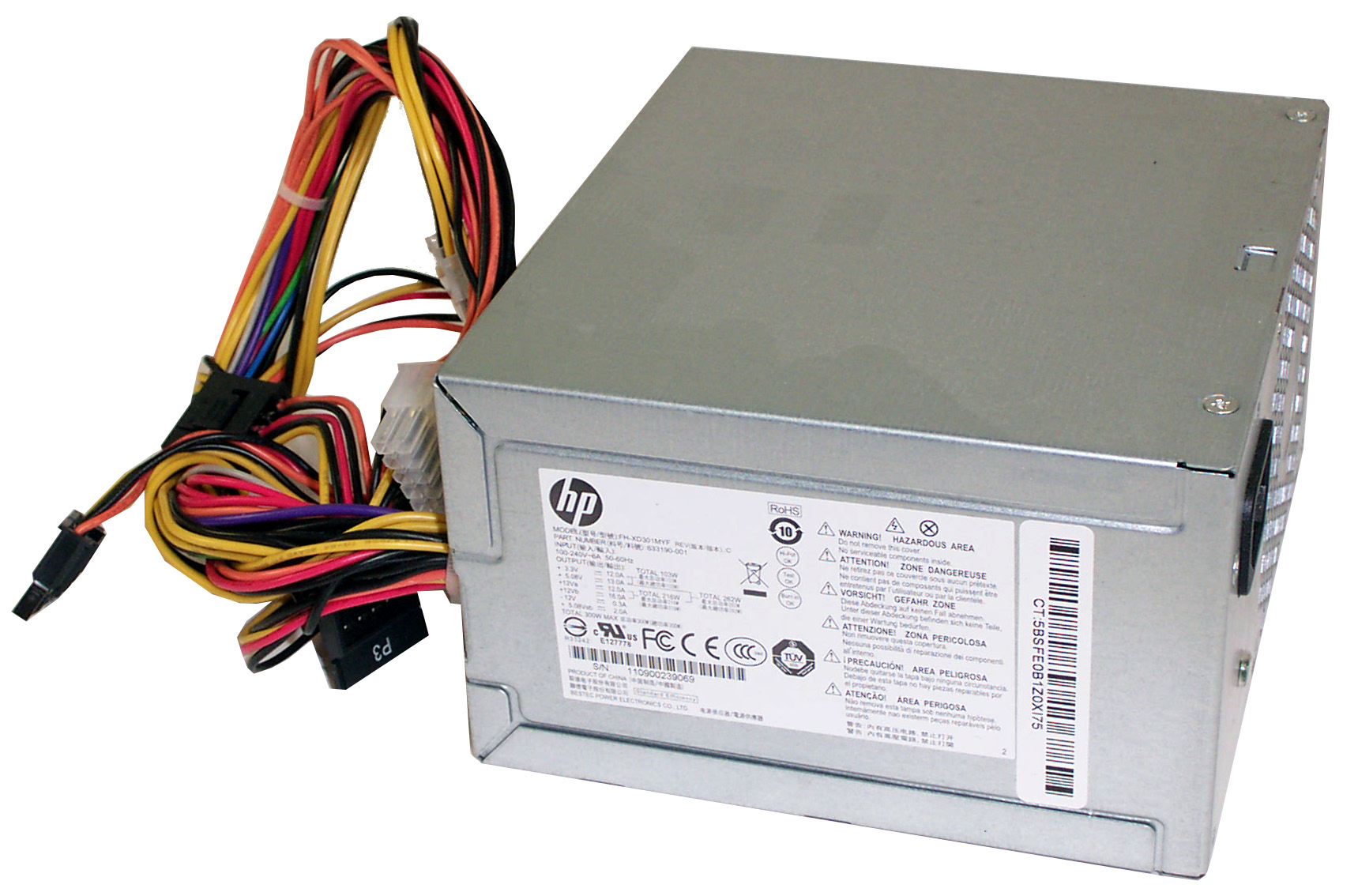 633190-001 Hewlett Packard 300W 24 Pin ATX Power Supply Unit- Bestec FH-XD301MYF