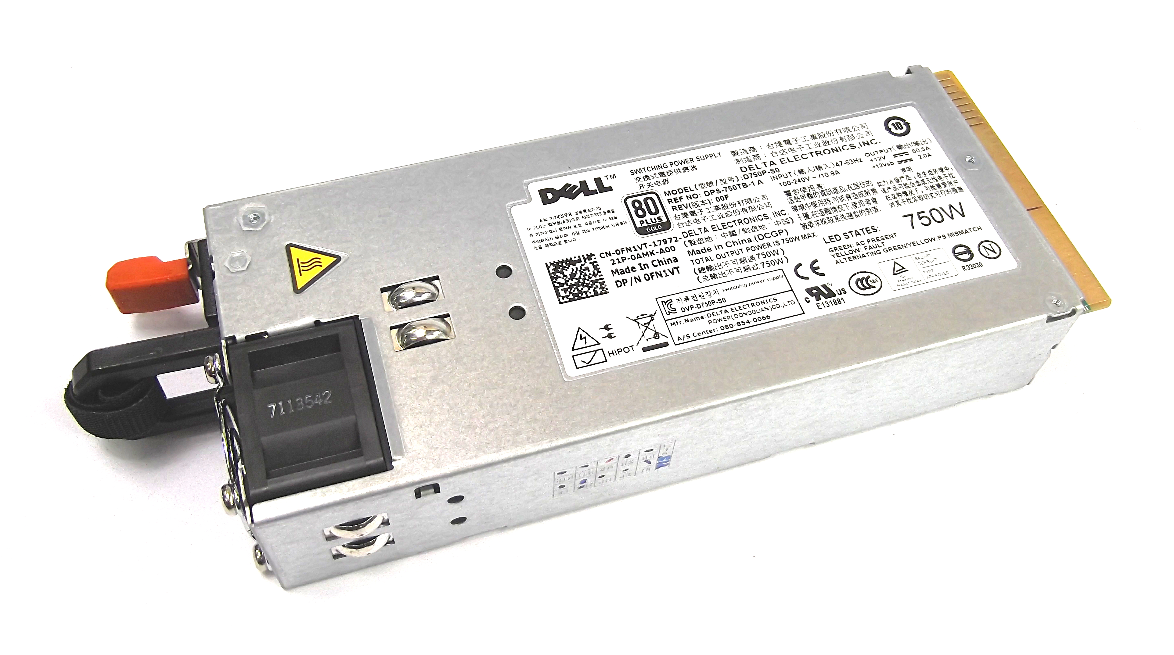 Dell FN1VT D750P-S0 750W Switching Power Supply For PowerEdge R510 Server
