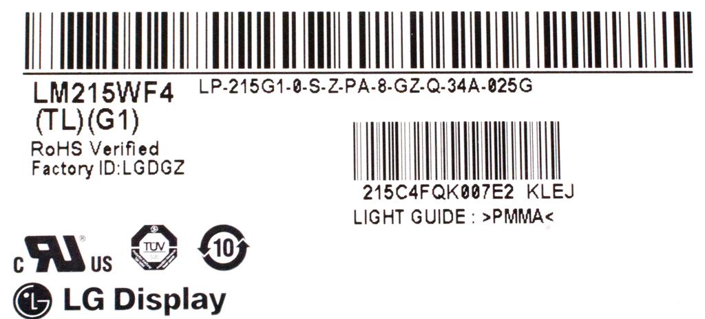 "LG LM215WF4(TL)(G1) 21.5"" LCD Screen w/ NextWindow Touch Assy f/ Lenovo C440 AiO"