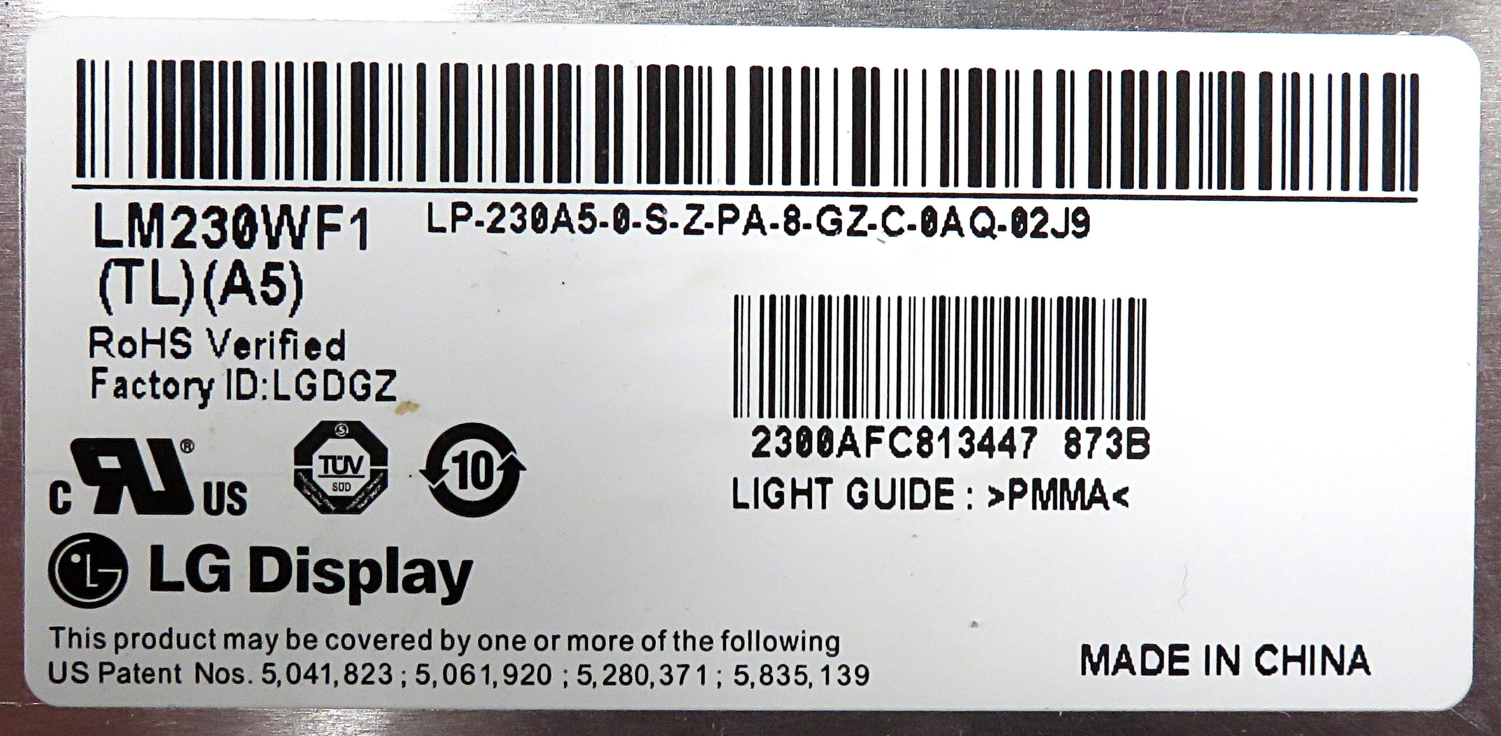 "LG LM230WF1(TL)(A5) 23"" FHD TN LCD Panel w/ Antiglare Hard Coating"