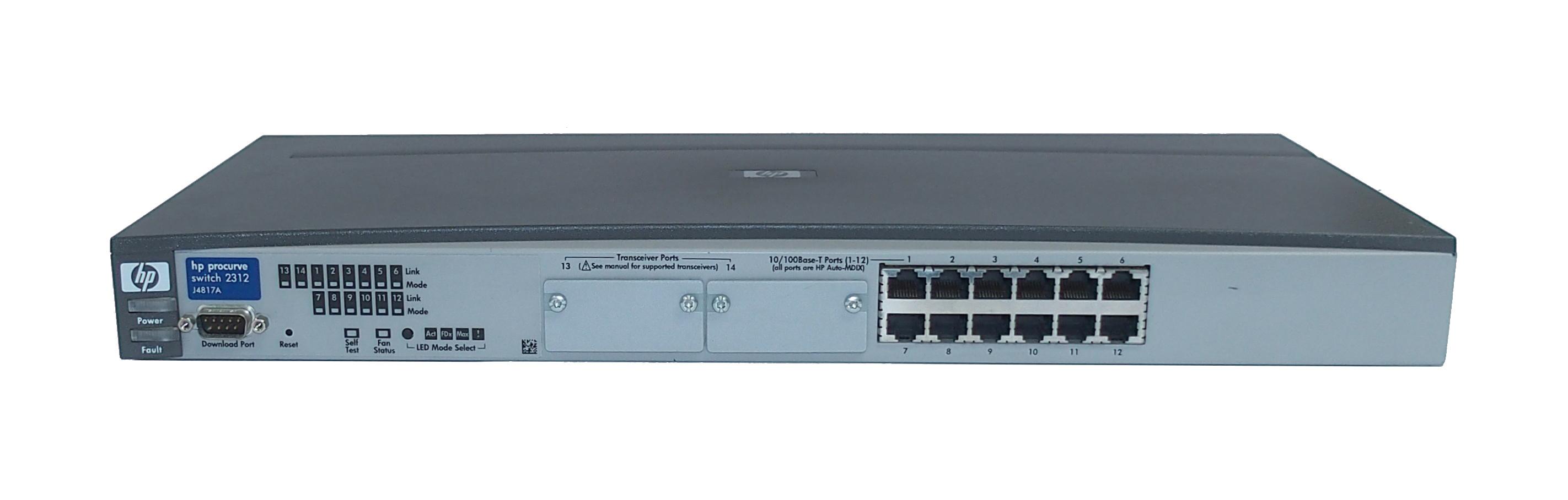 HP J4817A Procurve 2312 12-Ports 10/100Base-T Switch- No Rack Mount Ears