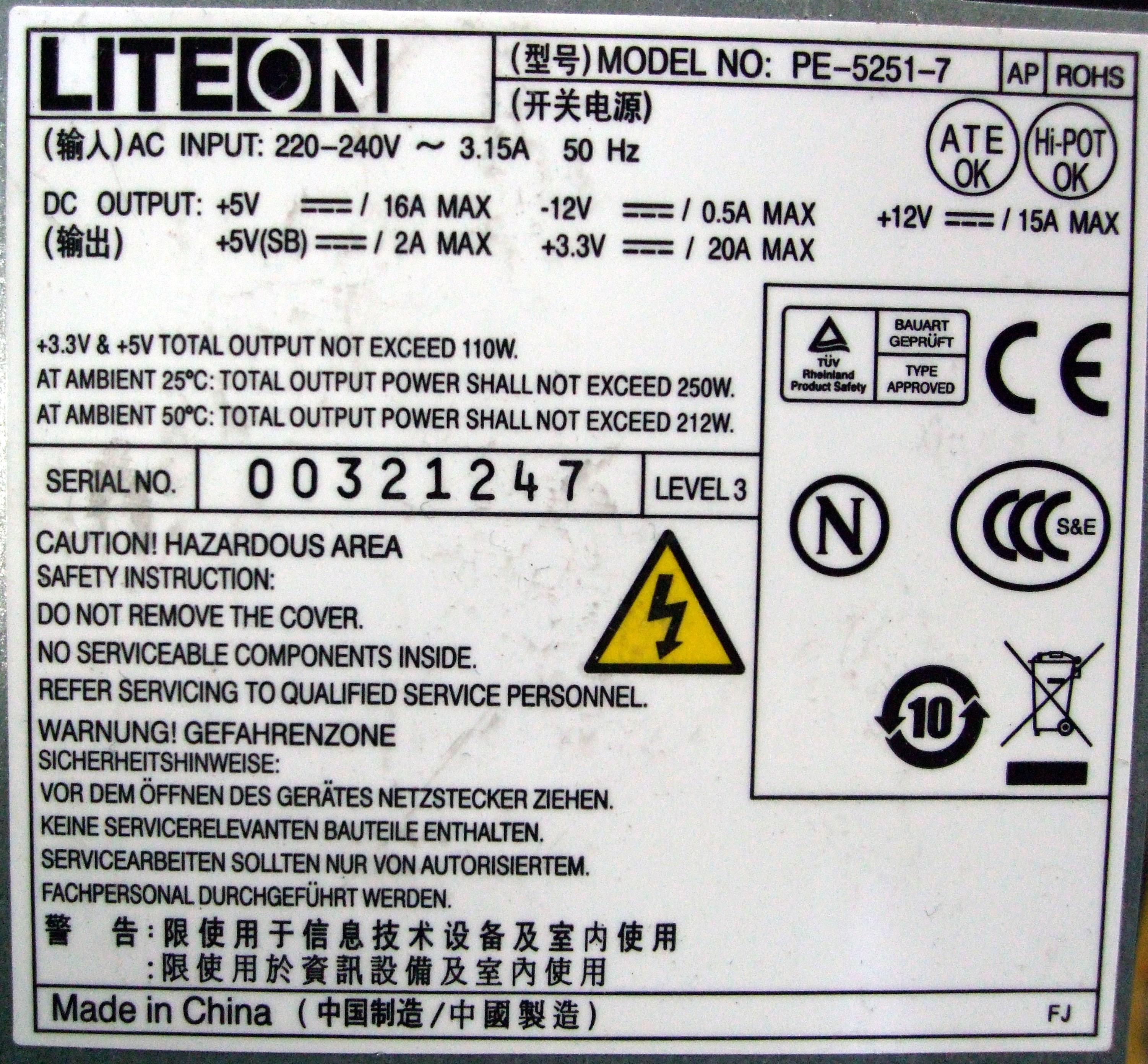LiteOn PE-5251-7 250W 20/24 Pin ATX Desktop PC Power Supply Unit ...